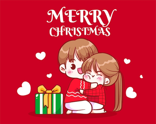 Paare, die unter dem weihnachtsbaum auf gezeichneter karikaturkunstillustration der weihnachtsfeiertagsfeier hand umarmen