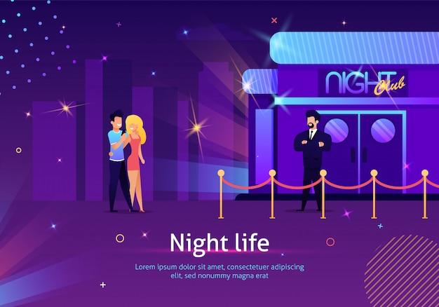 Paare, die zum nachtclub durch sicherheitskontrolle gehen