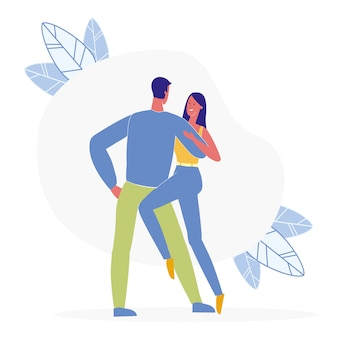 Paare, die zusammen flache illustration tanzen
