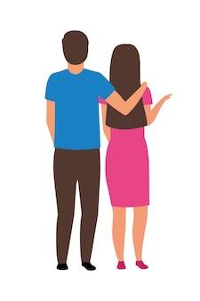 Paare, die zusammen halbflache farbvektorzeichen stehen. ganzkörpermenschen auf weiß. ehemann, der frau unterstützt, isolierte moderne cartoon-stil-illustration für grafikdesign und animation