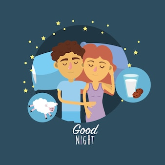 Paare, die zusammen mit guten träumen schlafen