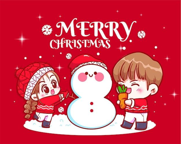 Paare, die zusammen schneemann an der gezeichneten karikaturkunstillustration des weihnachtstages hand machen