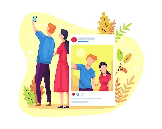 Paare, die zusammen selfies machen