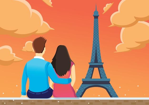Paare genießen nahe eiffelturm am nachmittag.
