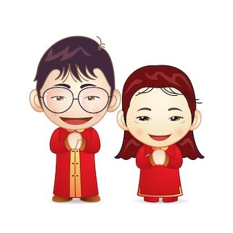 Paare im roten chinesischen hochzeitskleid