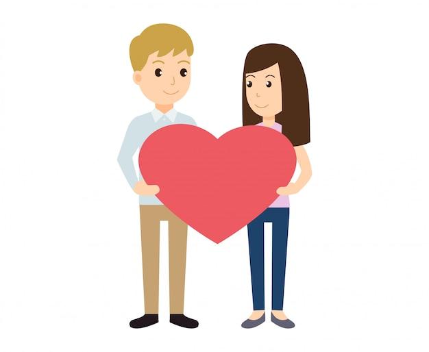 Paare in der liebe, die herzform für valentinstag hält