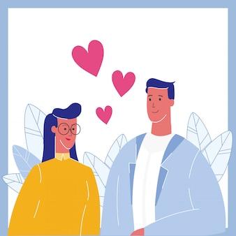 Paare in der liebes-porträt-flachen vektor-illustration