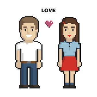 Paare in der liebespixelkunst auf weißem hintergrund
