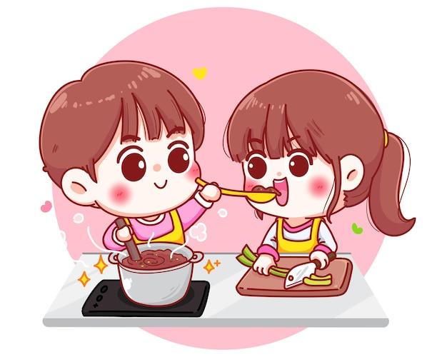 Paare kochen in der küchenkarikaturhandzeichnungillustration