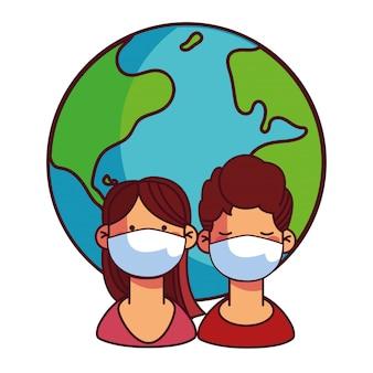 Paare mit masken, die sich um die welt kümmern