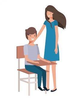 Paare mit schuleschreibtischavataracharakter