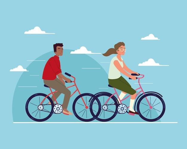 Paare reisen mit dem fahrrad
