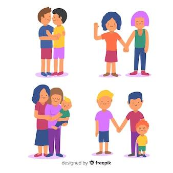 Paare und familien des stolzes