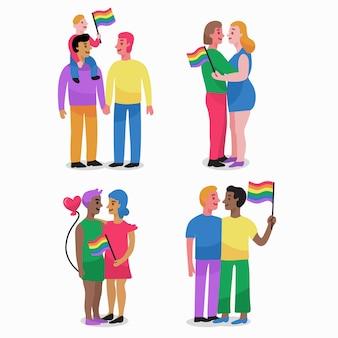 Paare und familien feiern stolz tag illustrationen pack