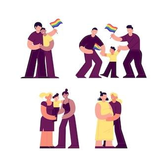 Paare und familien feiern stolz tag mit fahnen