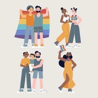 Paare und familien feiern stolz tag mit regenbogenfahne