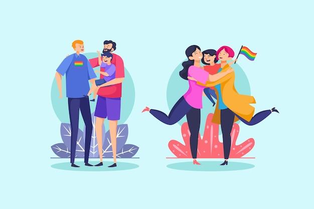Paare und familien feiern stolz tag