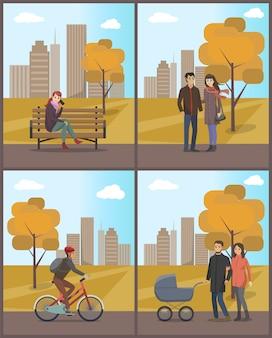 Paare und radfahrer-frau mit telefon-eingestelltem vektor