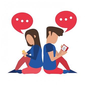 Paare unter verwendung der smartphonetechnologiekarikatur