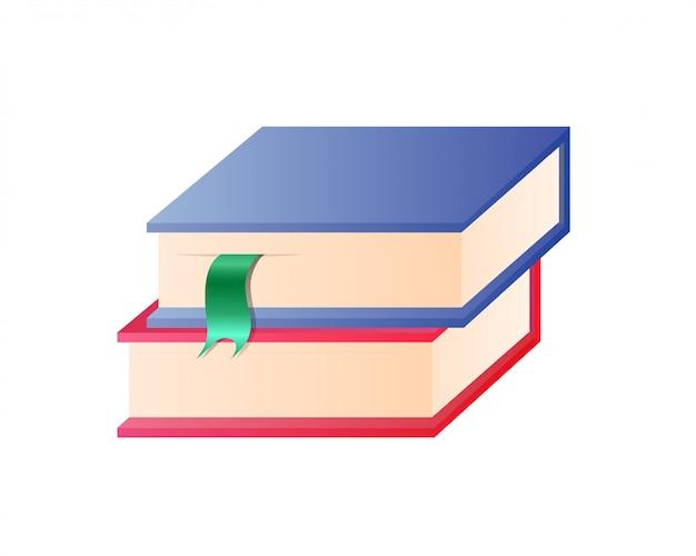 Paare von bunten büchern mit bookmarks im stapel
