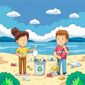 Paare von den jungen leuten, die plastikmüll auf ufergegend säubern