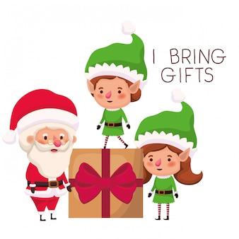 Paare von elfen und von weihnachtsmann mit geschenkbox