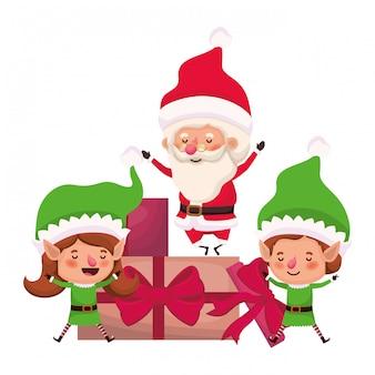 Paare von elfen und von weihnachtsmann mit geschenkkästen