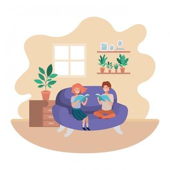 Paare von kindern mit buch im wohnzimmeravataracharakter