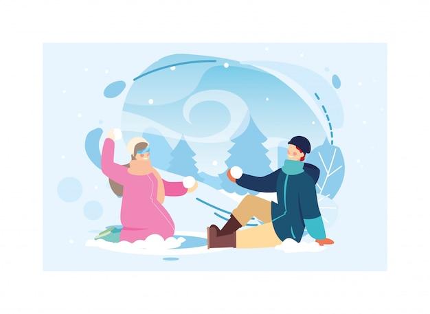 Paare von leuten mit winterkleidung in der landschaft mit schneefällen