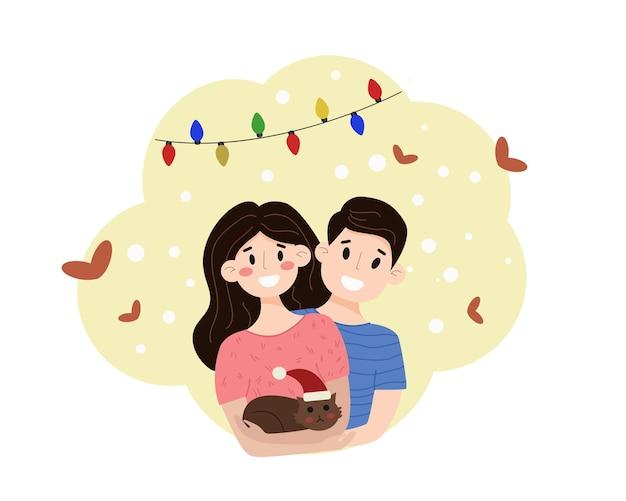 Paare von mann und frau, die sich mit einer katze in einer weihnachtsmütze umarmen frohes neues jahr