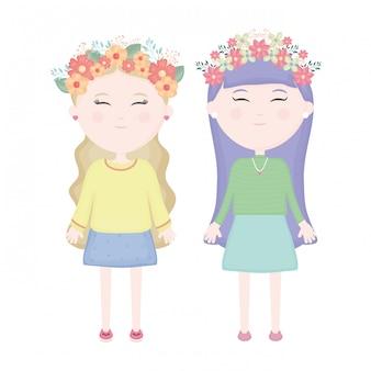 Paare von netten mädchen mit blumenkrone in den haarcharakteren