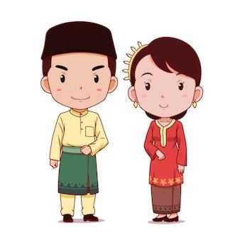 Paare von zeichentrickfilm-figuren im malaysischen traditionellen kostüm.