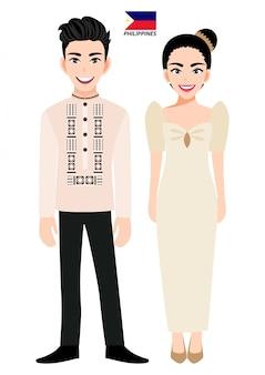 Paare von zeichentrickfilm-figuren im traditionellen kostüm der philippinen