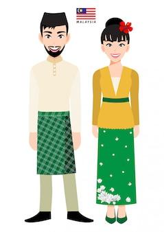 Paare von zeichentrickfilm-figuren im traditionellen kostüm malaysias