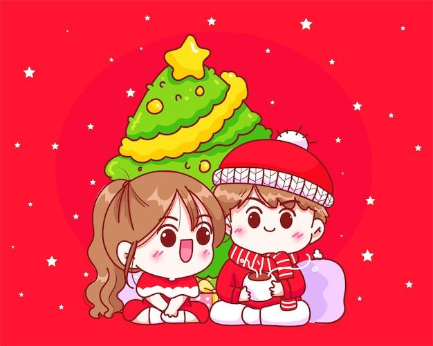 Paarfeier unter dem weihnachtsbaum an gezeichneter karikaturkunstillustration des weihnachtsfeiertags hand