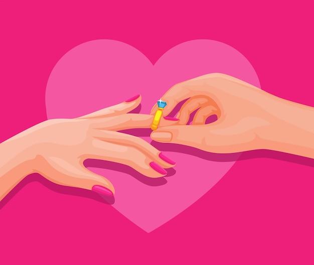 Paarhand, die ehering in verlobungs- oder hochzeitszeremonieillustrationsvektor setzt
