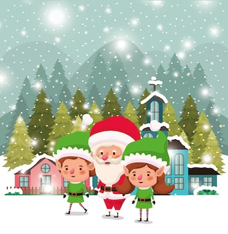 Paarhelfer mit weihnachtsmann in der schneelandschaft