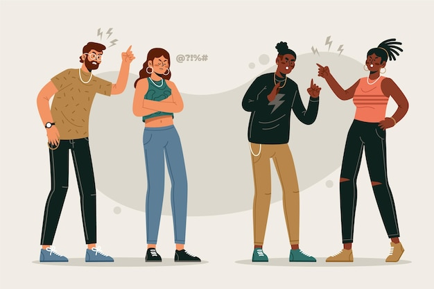 Paarkonflikt-illustrationskonzept