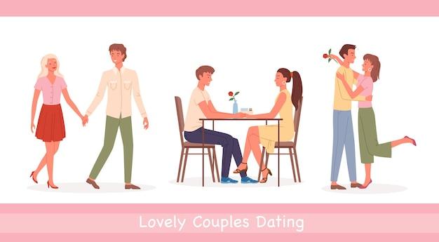 Paarleute treffen sich auf datumsillustration.