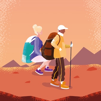 Paarreisender im landschaftsavataracharakter