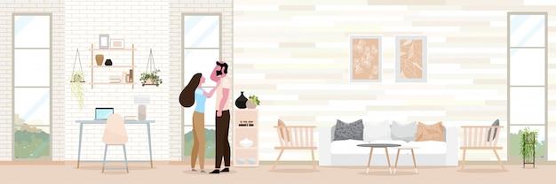 Paarromantik moderner innenraum des wohnzimmers.