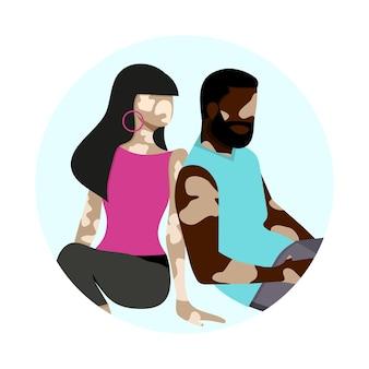 Paarsilhouette mit vitiligo verschiedener nationalitäten, die zusammen stehen vektorillustration