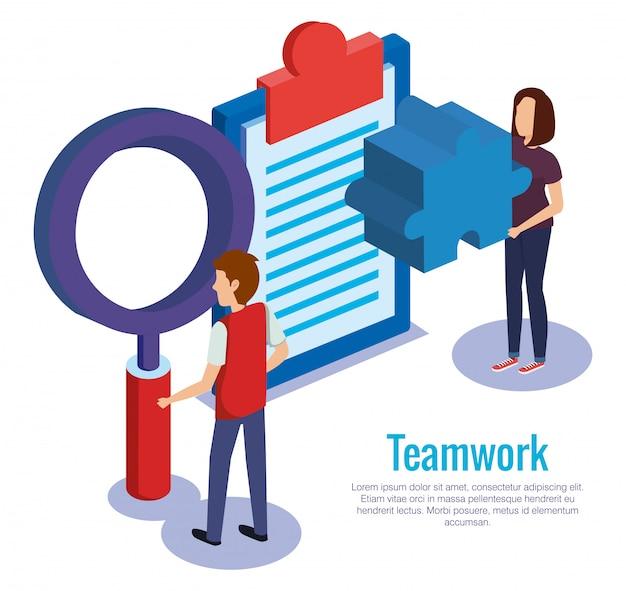 Paarteamwork mit checkliste