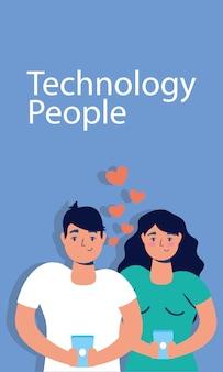 Paartechnologie mit smartphone-charakteren