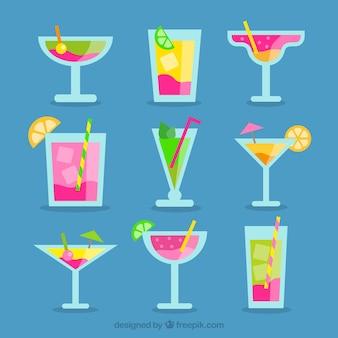 Pack de bebidas refrescantes en diseño plano
