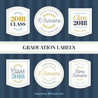 Pack graduierung label-kollektion mit flachem design