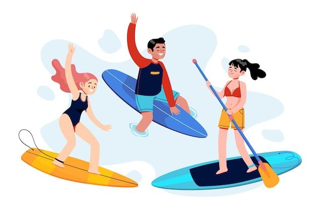 Pack junger leute, die sommersport betreiben