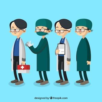 Pack mit arzt und chirurg mit brille