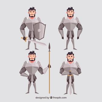Pack mit vier charakteren ritter mit rüstung