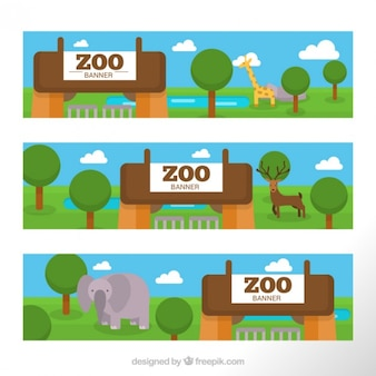 Pack of zoo banner